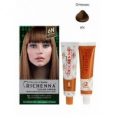 Richenna Color Cream 6 n - Крем-краска для волос с хной, светло-каштановый