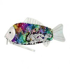 Косметичка LADY PINK плоская с пайетками разноцветная рыбка