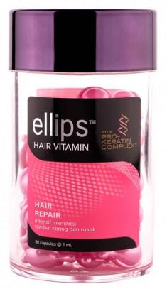 ELLIPS Масло для восстановления, блеска, питания и увлажнения волос, розовые капсулы / Pro Keratin Complex Hair Repair 50 шт (45 г)